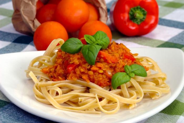 Lentil bolognese served with pasta