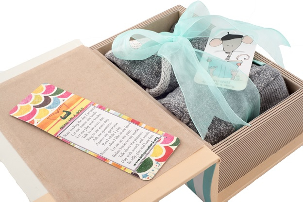 Book Box with Organic Heather Grey Kimono Set